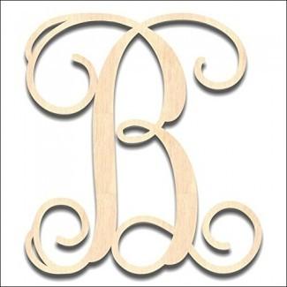 Back40Life | Letra de monograma de madera de vid de corte de precisión - 13 pulgadas sin terminar