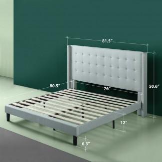 Marco de cama con plataforma de aleta tapizada Alexio