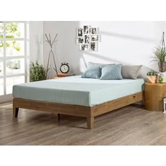 Cama de plataforma de madera Zinus de 12 pulgadas / sin necesidad de resorte / soporte de listones de madera / acabado de pino rústico, gemelo