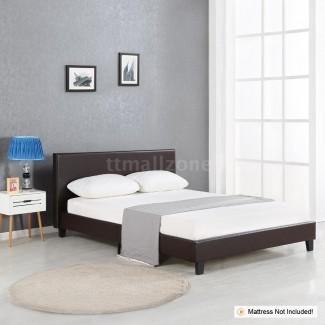 Marco de cama de plataforma de perfil bajo con cabecera tapizada ...