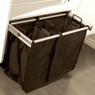 Cesto de ropa doble extraíble de 24 pulgadas en armario personalizado ...