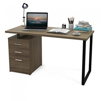 DEVAISE Escritorio moderno para computadora / Escritorio de oficina de madera / Estación de trabajo para PC