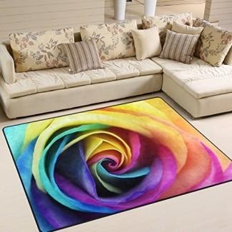 ALAZA Colorido Rainbow Rose Flower Alfombras Alfombras para sala de estar Dormitorio