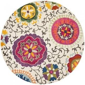 Safavieh Monaco Collection MNC233A Alfombra moderna, colorida, floral, marfil y multicolor.