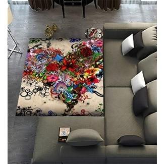 Alfombras exclusivas para alfombra Alfombra para el hogar Vida Comedor Decoración de la sala de juegos, Papel tapiz Estrellas Flores Corazón Emociones Alfombras coloridas 7'x5 '