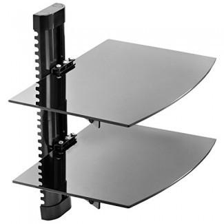 Mount Factory - Montaje en pared ajustable / Estante de componentes AV DVD flotante de vidrio - 2 niveles - Negro