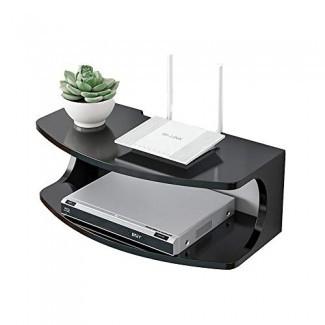 Estante Consola de TV flotante de montaje en pared moderna de 1 nivel para reproductores de DVD / cajas de cable / enrutadores / controles remotos / consola de juegos Estante de almacenamiento funcional