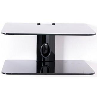 Gold Line 2 x estantes flotantes negros con vidrio negro templado reforzado para reproductores de DVD / cajas de cable / consolas de juegos / accesorios de TV