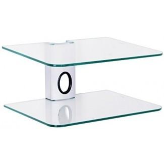 Gold Line 2 x estantes flotantes plateados con vidrio templado templado reforzado para reproductores de DVD / decodificadores / consolas de juegos / accesorios de TV