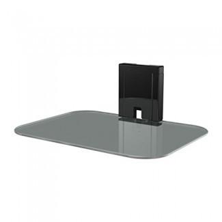 Estante AV en la pared de vidrio templado Sanus para dispositivos de transmisión, consolas de juegos y cajas de cable - SOA-AVS1