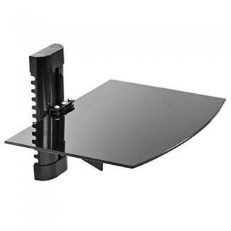 Mount Factory - Soporte de pared ajustable / estante de componentes de DVD de vidrio flotante simple - Negro