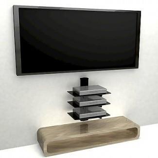3 Estante flotante Montaje en pared grande TV de vidrio templado ...