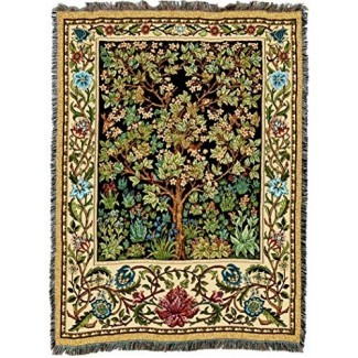 Pure Country Weavers | William Morris Tree of Life Manta tejida de tapicería con algodón con flecos USA 72x54