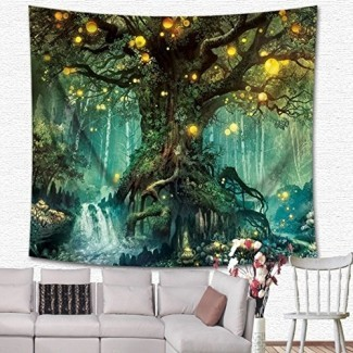 KRWHTS Magical Love Tree of Life Tapiz Tapiz de pared Bosque psicodélico en Star Moon Night