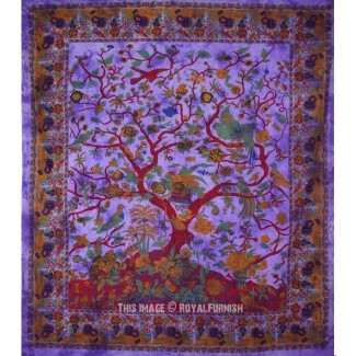 Tapiz de pared del árbol de la vida púrpura y pájaros Tie Dye [19659015] Tapiz de pared Purple Tree of Life & Birds Tie Dye, Hippie ... </div> </p></div> <div class=