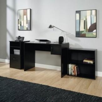 Librería, escritorio y paquete de 3 piezas para oficina en el hogar Gabinete de almacenamiento, acabado en negro