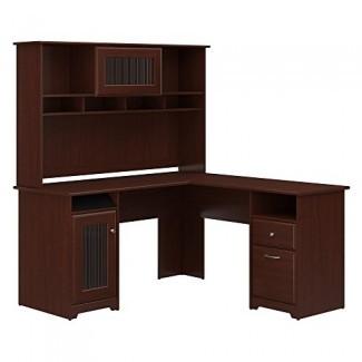 Armario para muebles Bush con forma de escritorio en L con conejera en roble espresso