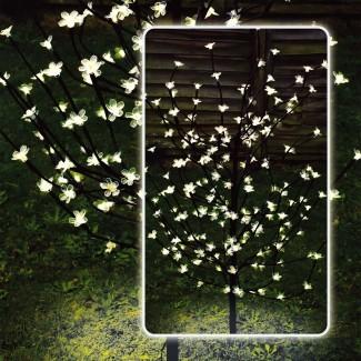 4 pies 120 LED de energía solar Bonsai Tree Outdoor ...