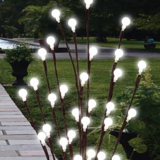 2 x 60cm Garden LED Twig Lights Solar Luces de árbol