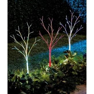 Juego de 3 árboles de luz solar que cambian de color decorativo ...