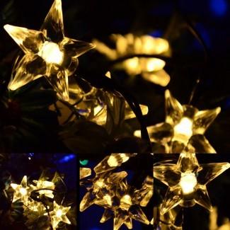 Luz LED de varias formas con luz solar de jardín al aire libre de Navidad ...