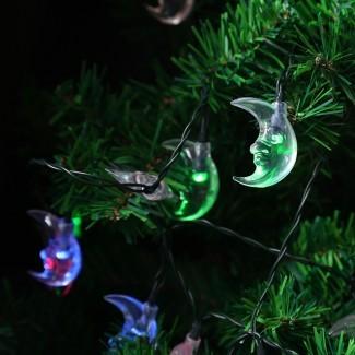 Energía solar LED Moon Fairy String Lights Árbol de Navidad ...