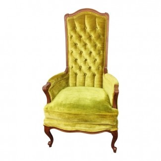 Broyhill Mid Century Green Velvet Tufted High Back Accent ...