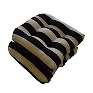 Juego de 2 - Cojines universales con forma de U para asiento de silla de mimbre - Raya negra y blanca - Interior / Exterior