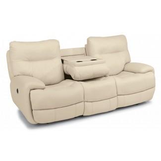 Flexsteel Living Room Sofá reclinable eléctrico de cuero 1447 ...