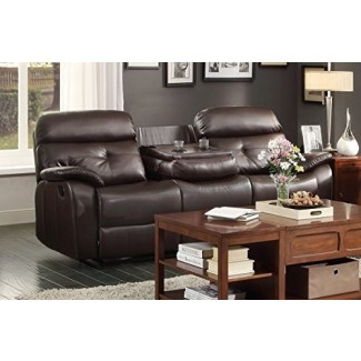 Homelegance 8539-3 Sofá doble reclinable con abatible ...