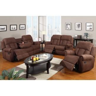Juego de sofá reclinable de 3 piezas con portavasos plegables