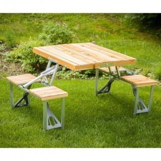 Mesa de picnic Shick de madera maciza
