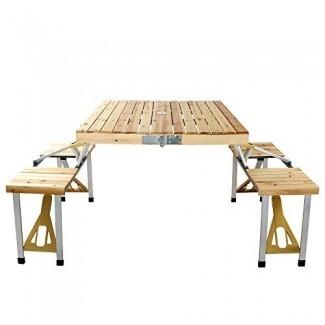 Mesa de picnic portátil TOYEEKA con 4 asientos Mesa de camping plegable para jardín al aire libre para cenas de fiesta