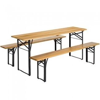 Best Choice Products VD-2837OP Productos Juego de mesa de picnic plegable portátil de 3 piezas con tablero de madera, marrón / negro