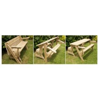 Instrucciones de construcción combinadas de banco plegable y mesa de picnic
