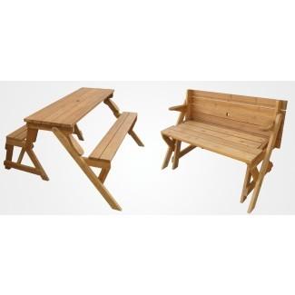 Un banco de jardín que se despliega en una mesa de picnic