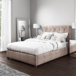 Cama otomana Safina Kingsize en terciopelo beige   Furniture123