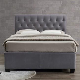 Cama tapizada en color gris Birlea Cologne Cama otomana King Size ...