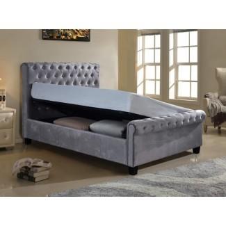 Muebles de estilo Lola 5ft Kingsize Silver Fabric Otomana ...