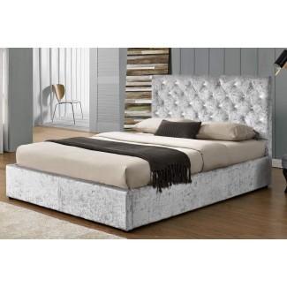 Estructura de la cama otomana triturada Chatsworth Silver Double / King ...