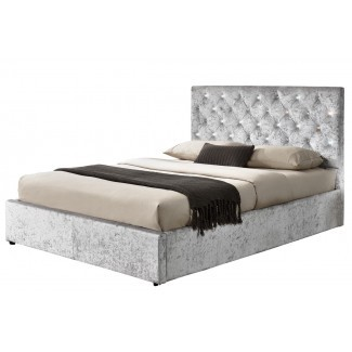 Estructura de cama otomana triturada Chatsworth Silver ...