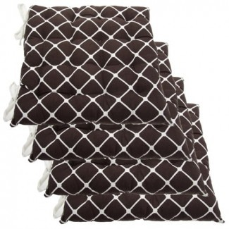 Juego de 4 Almohadillas y corbatas para silla reversible de interior de algodón