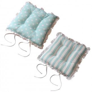Almohadillas de asiento para silla de comedor Cotton Square Reversible ...