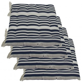 Juego de 4 almohadillas y lazos reversibles para silla de interior de algodón