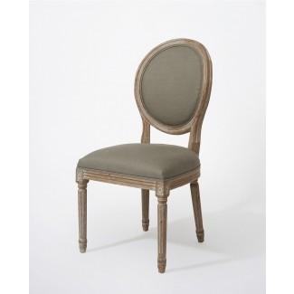 Versalles vintage silla de comedor redonda de lino y roble ...