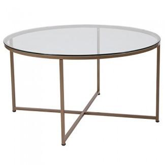 Mesa de centro de cristal de la colección de Greenwich Glass Furniture con marco dorado mate