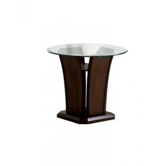 Mesa auxiliar Veretta Furniture of America con tapa de vidrio biselado de 10 mm, acabado en cerezo oscuro
