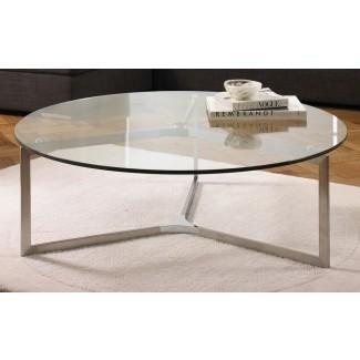Mesa de centro circular con tapa de cristal | Ideas de diseño de mesa de café