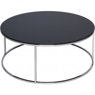 Kensal Circular Modern Coffee Table - Black Glass | Coffee
