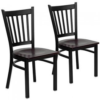 Muebles Flash 2 Pk. Silla de restaurante con respaldo vertical negro Hercules Series - Asiento de vinilo negro-p